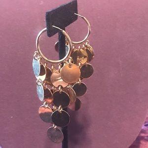 Long gold tone disk earrings. 2/$10 Sale